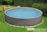 Rattan fémfalas medence 3,6 x 1,2m kerek szett 4 m3/h-s homokszűrővel, létrával